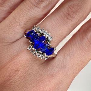 Jewelry - Stunning Blue Sapphire & White Gemstones